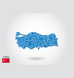 Turkey map design with 3d style blue turkey map vector