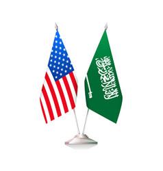 usa and saudi arabia flags vector image