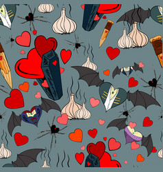Vampire seamless pattern for the valentine day vector