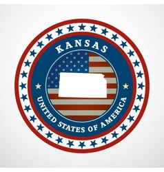 Vintage label Kansas vector