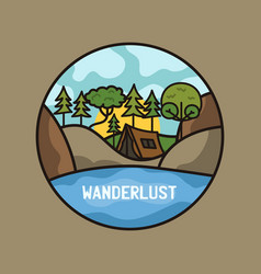 Wanderlust adventure logo hiking emblem design vector