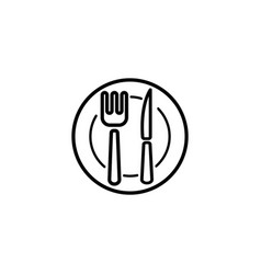 web line icon cutlery plate fork and knife vector image