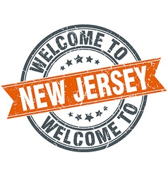 Welcome to New Jersey orange round ribbon stamp vector