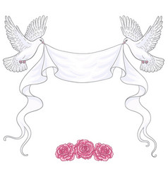 White flying doves ribbon and roses vector