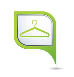 clothers hanger symbol on green map pointer vector image