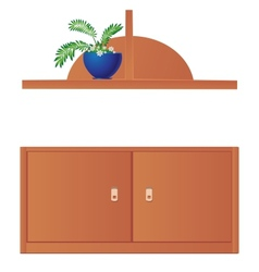 Cupboard and shelf flowerpot isolated on white vector image