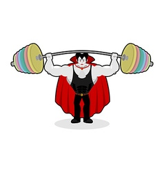 Dracula and barbell Gym over his head Exercises on vector image vector image