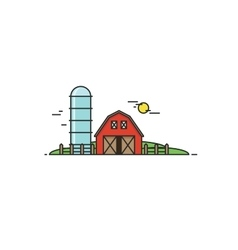 Farm in flat line style Isolated vector image