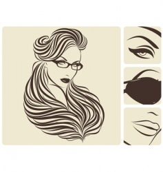 long curly hairstyle vector image vector image