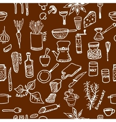 Seamless pattern on a kitchen theme Variety of vector image vector image