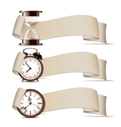 Set of banners with clocks vector image vector image