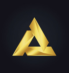 triangle gold shape logo vector image vector image