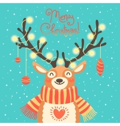 Christmas card Cute cartoon deer with garlands on vector image