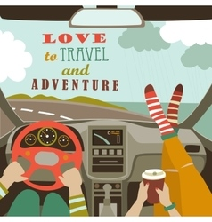 Man and woman traveling by car vector image vector image