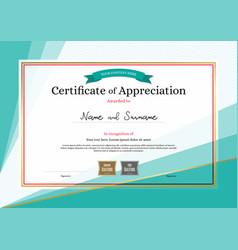 Modern certificate of appreciation template on vector