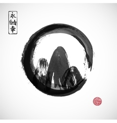 Mountains hand drawn with ink in black zen circle vector image vector image