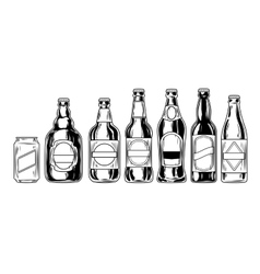 Set icons of beer bottles vector image vector image