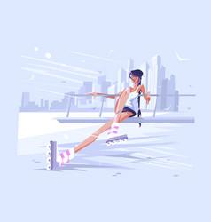 cute girl roller vector image