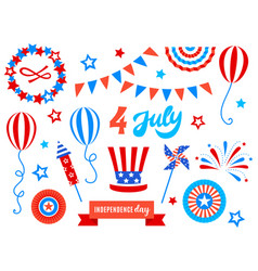 independence day of america festive doodles set vector image