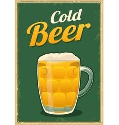 Vintage poster cold beer vector image