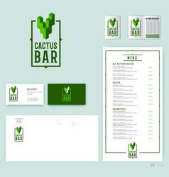 cactus bar logo original mexican cuisine vector image vector image