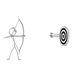 cartoon of archer with bow and arrow shooting at vector image