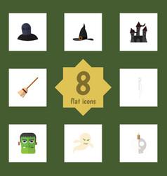 Flat icon festival set of monster ghost skeleton vector