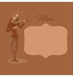 Restaurant or cafe menu Violinist playing vector image