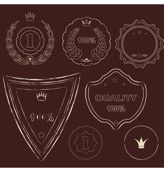 Set of old dark vintage labels of grunge style vector image