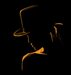 Woman with hat silhouette in backlight vector