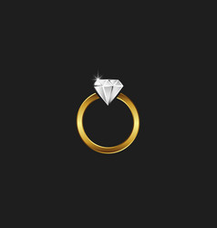 A golden ring with a diamond logo a sparkling vector