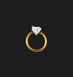 A golden ring with diamond logo sparkling vector