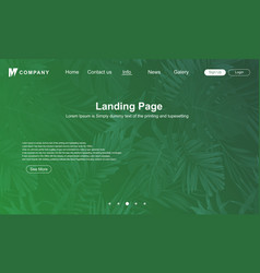 abstract green nature landing page design vector image