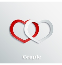 Abstract hearts 3D paper icon vector image