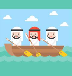 arab businessman team rowing boat in sea wave vector image