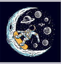 Astronaut skateboarding on moon vector