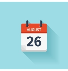 August 26 flat daily calendar icon Date vector image