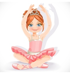 Ballerina girl in pink dress sit on floor isolated vector
