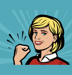 beautiful girl shows fist showing strength retro vector image