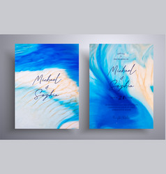 Beautiful set wedding invitations with stone vector