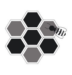 bee hive team work community concept line vector image