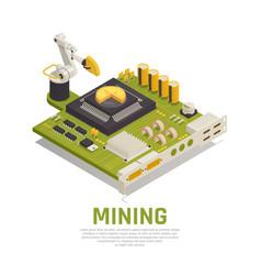 Blockchain mining isometric background vector