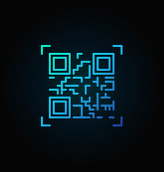 Blue qr code scanning icon or design logo vector