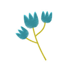 Blue tulip flower spring sketch vector