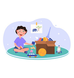 Boy playing with toys concept vector