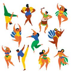 Brazilian samba dancers capoeira drumme carnival vector