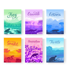 Brochures with varieties of reptiles animals in vector