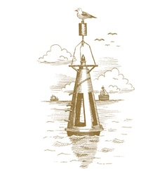 Buoy in the sea drawn by hand vector