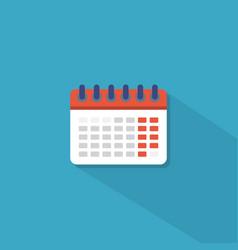 calendar icon in flat style white calendar vector image