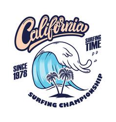 california surfing championship emblem template vector image